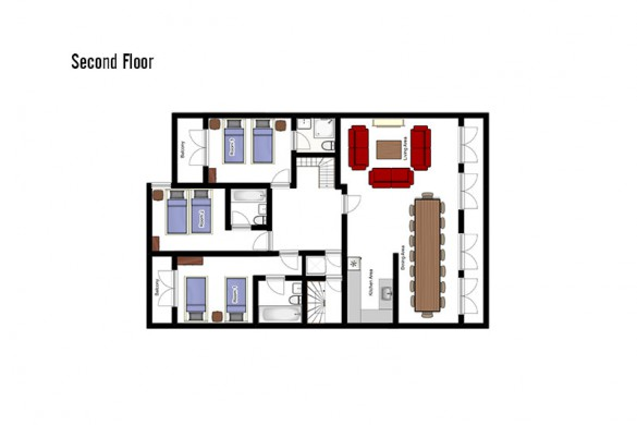 Floor plan of Chalet Dominique, second floor - ski chalet in Tignes, France