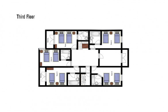 Floor plan of Chalet Dominique, third floor - ski chalet in Tignes, France