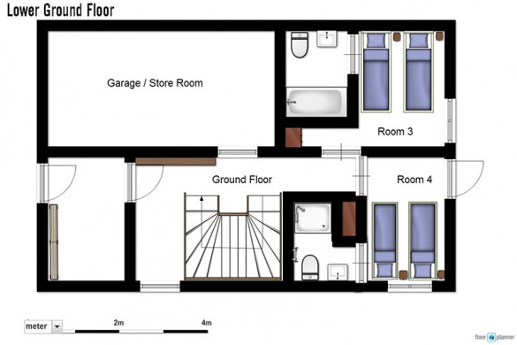 Floor plan of chalet Ecureuil de Neige, lower ground floor - ski chalet in Courchevel, France