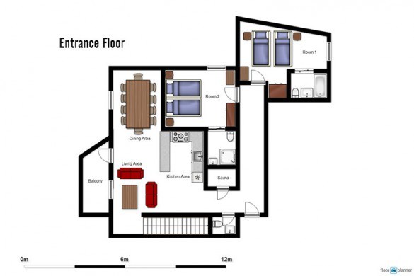 Floor plan of Chalet Escamillo, entrance floor - ski chalet in Tignes, France