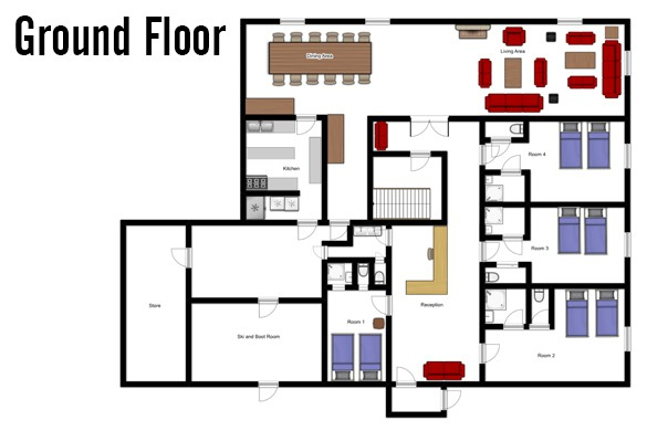 Floor plan of Chalet Les Eterlous, Ground Floor - Ski Chalet in Alpe d'Huez, France