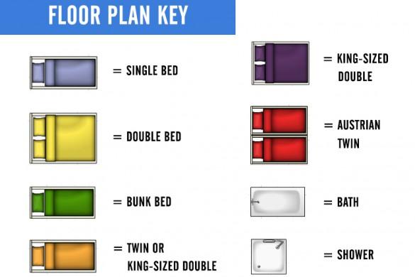 Floor plan key for Chalet Cirrus in St. Anton, Austria