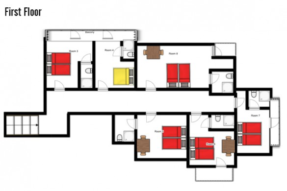 Floor plan of Chalet Furka, first floor - ski chalet in Lech, Austria