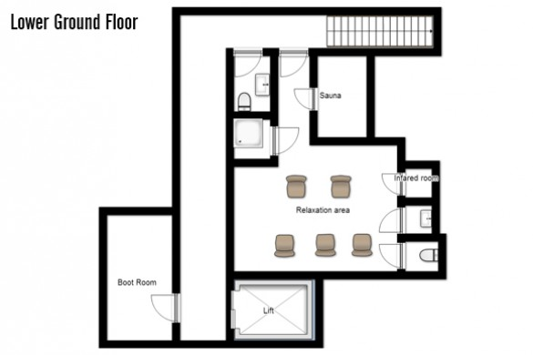 Floor plan of Chalet Furka, lower ground floor - ski chalet in Lech, Austria