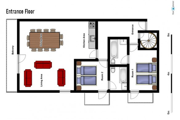 Floor plan of chalet Girolle, entrance floor - ski chalet in La Plagne, France