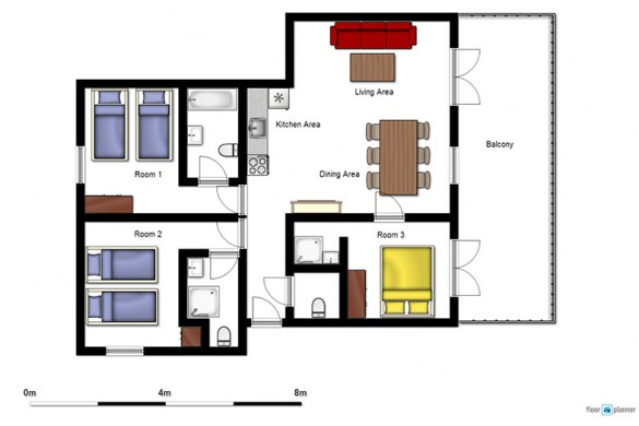 Floor plan of chalet Gorges - ski chalet in Les Deux Alpes, France