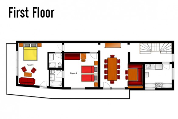 Floor plan of Chalet Hans, first floor - ski chalet in St Anton, Austria