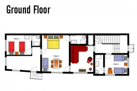 Floor plan of Chalet Hans, ground floor - ski chalet in St Anton, Austria