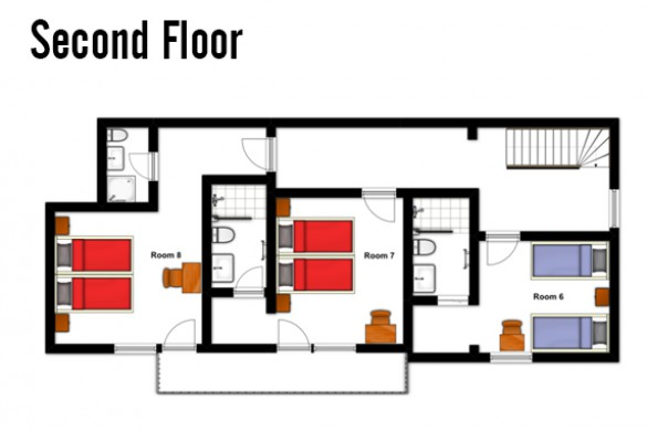Floor plan of Chalet Hans, second floor - ski chalet in St Anton, Austria