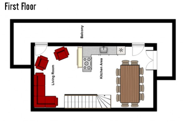 Floor plan of Chalet Joly, First Floor - Ski Chalet in La Plagne, France