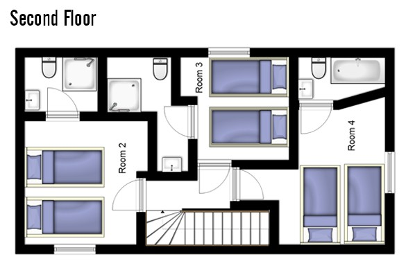 Floor plan of Chalet Joly, Second Floor - Ski Chalet in La Plagne, France