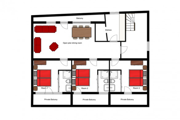 Floor plan of the chalet Kapall, , first floor - ski chalet in St Anton, Austria