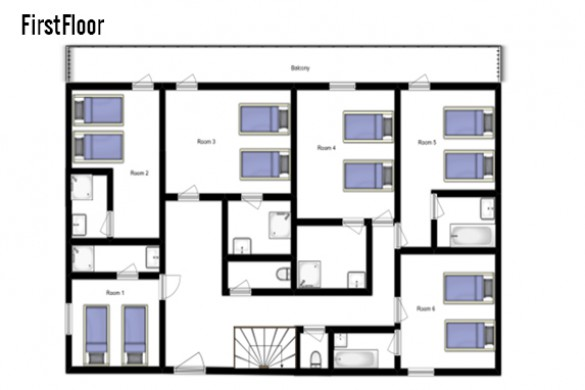 Floor plan of Chalet L'Arc, First Floor - Ski Chalet in Les Arcs, France