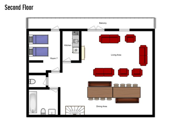Floor plan of Chalet L'Arc, Second Floor - Ski Chalet in Les Arcs, France