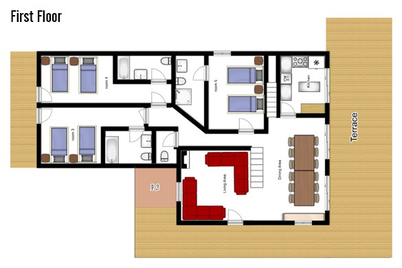 Floor plan of Chalet Laetitia, First floor