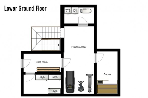 Floor plan of chalet Laetitia, lower ground floor - ski chalet in Meribel, France