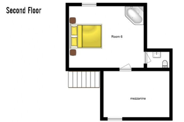 Floor plan of chalet Laetitia, second floor - ski chalet in Meribel, France