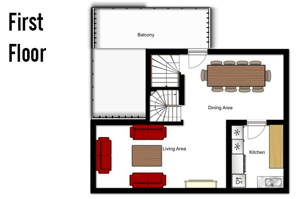 Floor plan of Chalet Lapin de Neige, First Floor - Ski Chalet in Courchevel, France