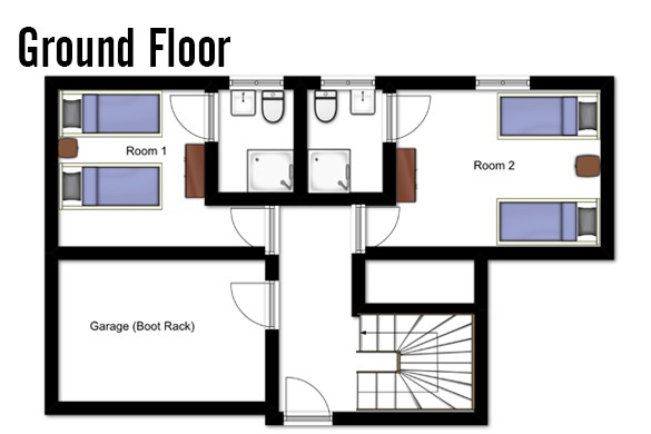 Floor plan of Chalet Lapin de Neige, Ground Floor - Ski Chalet in Courchevel, France