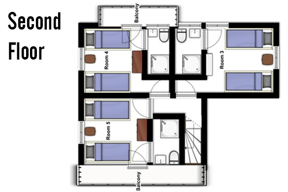 Floor plan of Chalet Lapin de Neige, Second Floor - Ski Chalet in Courchevel, France