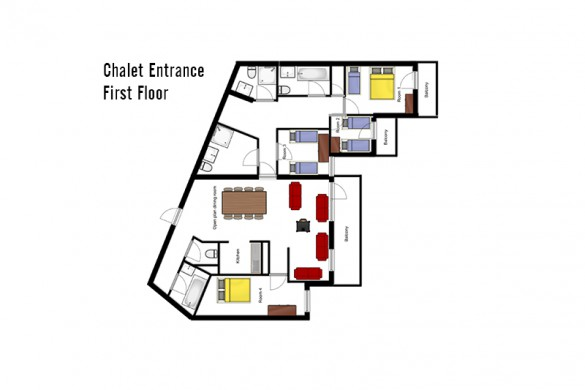 Floor plan of the Chalet Leo, first floor - ski chalet in Val Thorens, France
