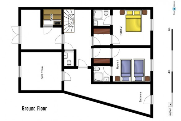 Floor plan of chalet Les Rouses, ground floor - ski chalet in Les Deux Alpes, France