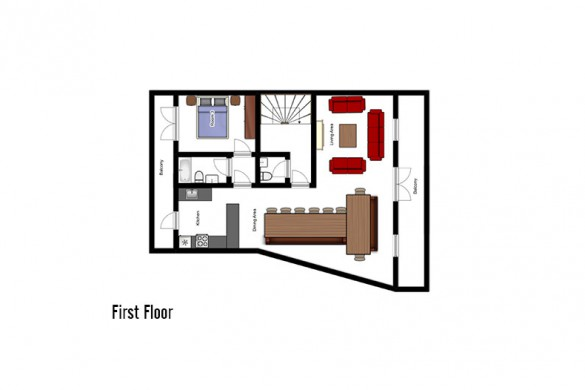 Floor plan of chalet Les Rouses, first floor - ski chalet in Les Deux Alpes, France