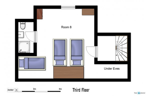 Floor plan of chalet Les Rouses, third floor - ski chalet in Les Deux Alpes, France