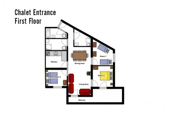 Floor plan of the chalet Libra, entrance floor - ski chalet in Val Thorens, France