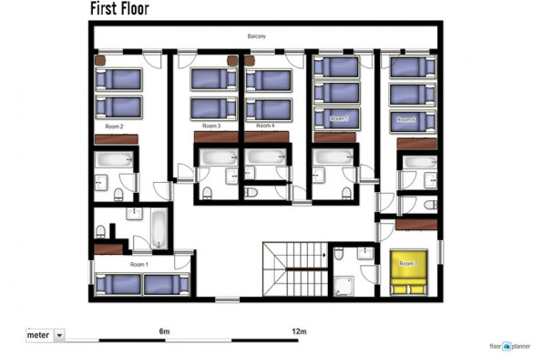 Floor plan of Chalet Lores, first floor - ski chalet in Val d'Isere, France