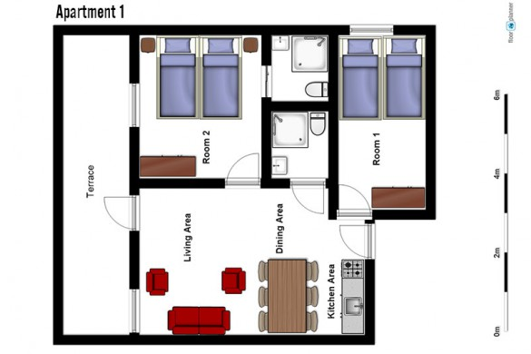 Floor plan of Chalet Maison Rose, apartment 1 - ski chalet in Val d'Isere, France