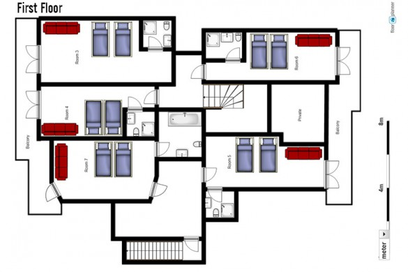 Floor plan of Chalet Monte Vera, first floor - ski chalet in St Anton, Austria