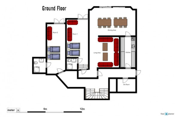Floor plan of Chalet Monte Vera, ground floor - ski chalet in St Anton, Austria