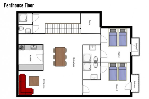 Floor plan of Chalet Mooserwirt, penthouse floor - ski chalet in St Anton, Austria