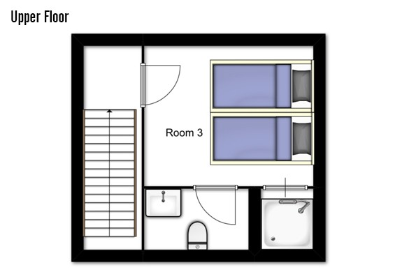 Floor plan of Chalet Mooserwirt, upper floor - ski chalet in St Anton, Austria