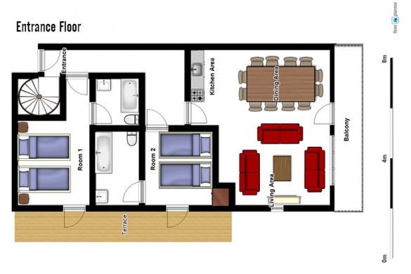 Floor plan of chalet Morille, entrance floor - ski chalet in La Plagne, France