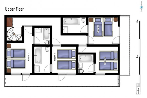 Floor plan of chalet Morille, upper floor - ski chalet in La Plagne, France