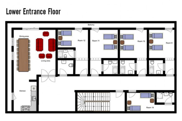 Floor plan of chalet Natalia I, lower entrance floor - ski chalet in Meribel, France