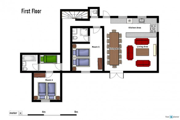 Floor plan of Chalet Premiere Neige, first floor - ski chalet in Val d'Isere, France