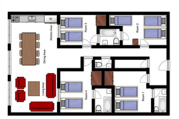 Floor plan of Chalet Promenade de Toviere, ski chalet in Tignes, France