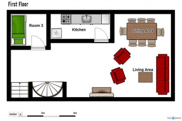 Floor plan of Chalet Rayon de Soleil, first floor - ski chalet in Val Thorens, France