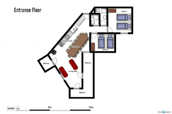 Floor plan of Chalet Renod, entrance floor - ski chalet in Val Thorens, France