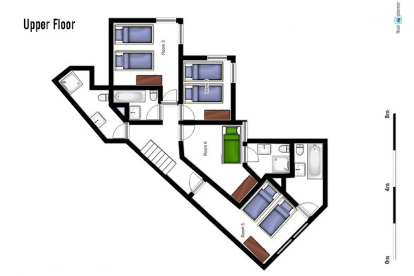 Floor plan of Chalet Renod, upper floor - ski chalet in Val Thorens, France