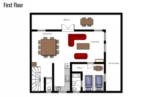 Floor plan of Chalet Sarenne, First Floor - Ski Chalet in Alpe d'Huez, France