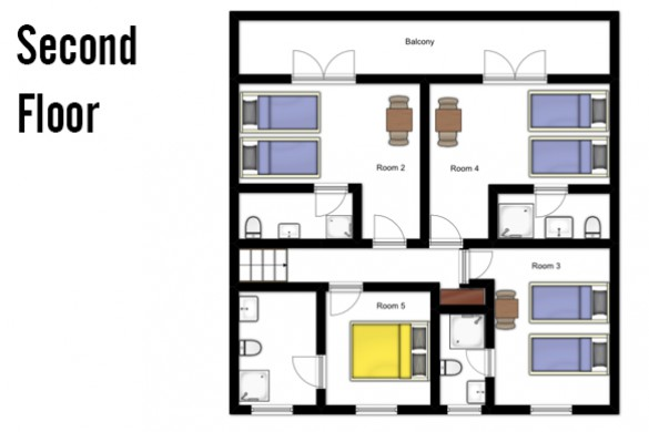 Floor plan of Chalet Sarenne, Second Floor - Ski Chalet in Alpe d'Huez, France