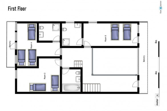 Floor plan of Chalet Schlosskopf, first floor - ski chalet in St Anton, Austria