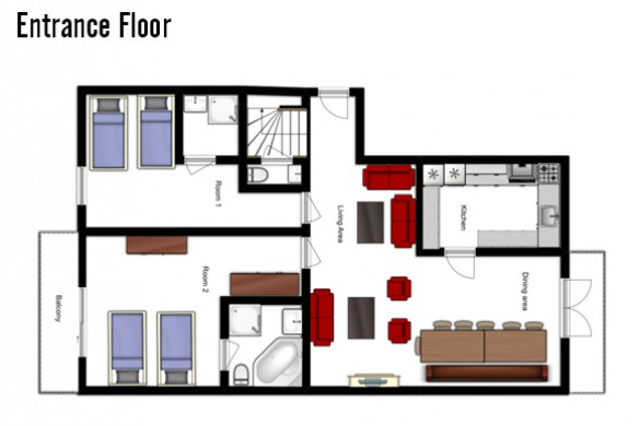 Floor plan of Chalet Tetra, Entance Floor - Ski Chalet in Les Arcs, France