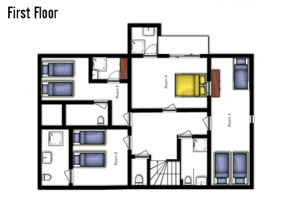 Floor plan of Chalet Tetra, First Floor - Ski Chalet in Les Arcs, France