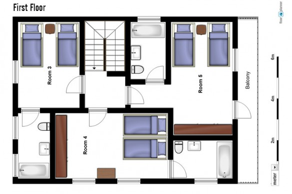 Floor plan of Chalet Tolima, first floor - ski chalet in Val d'Isere, France