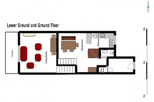 Floor plan of Chalet Val Rogoney, lower ground and ground floor - ski chalet in Val d'Isere, France
